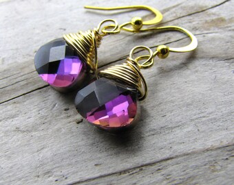 Purple earrings  Glass crystal teardrop and gold wire wrapped drop dangle earrings bridesmaids earrings wholesale clearance