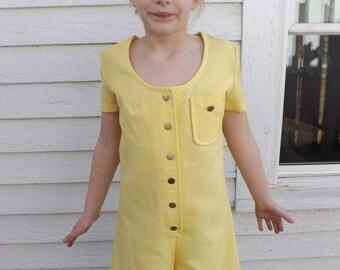 60s Girls Yellow Mod Jumper Romper Shorts Vintage Meadowlark 10