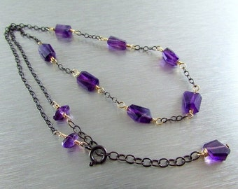 15% Off Amethyst and Oxidized Sterling Silver Necklace