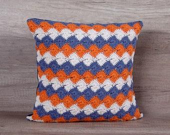 Cute geometrical crochet pillow cover, summer white orange navy cotton couch, diamond pattern, living room sham 16 x 16  (39 X 39 cm)