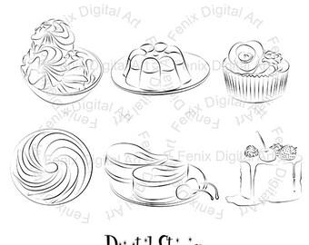 Digital Stamp,Clipart,Line art,Desserts clipart,Desserts graphics,Digi stamp,digistamp,Desserts Illustration INSTANT DOWNLOAD