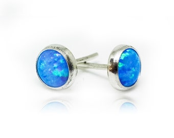 Sterling Silver Stud Earrings | Silver Studs | Blue Opal Earrings | Silver Stud Earrings | Opal Earrings | Sterling Silver Studs