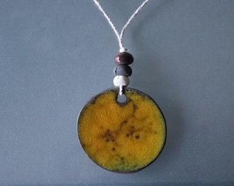 Yellow ceramic handmade necklace