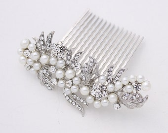 Crystal Pearl Bridal Hair Comb, Wedding Hair Clip, Rhinestone Bridal Hair Piece, Wedding Hair Accessories, Side Hair Comb, Wedding Hair Clip