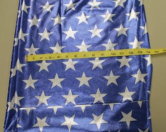 Star Foil Spandex 4 Way Stretch Fabric - Royal Blue and Silver Star Spandex Fabric - 4 Way Stretch Costume Fabric - Metallic Star Fabric