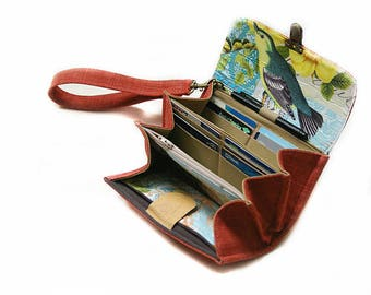 Smartphone wallet clutch - medium/ salmon red wallet clutch, iphone holder, phone purse, bird wallet gift for mother -  READY TO SHIP