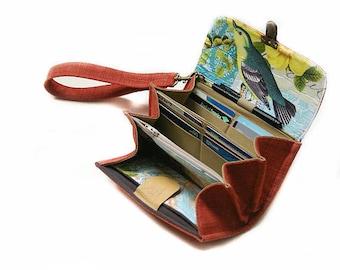 Embrayage de portefeuille smartphone - pochette portefeuille rouge moyen / saumon, titulaire de l'iphone, téléphone sac à main, cadeau portefeuille oiseau pour la mère - en stock