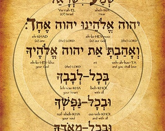 The Shema Prayer Hebrew Poster (Deut. 6:4-5)
