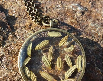 Real fennel resin pendant