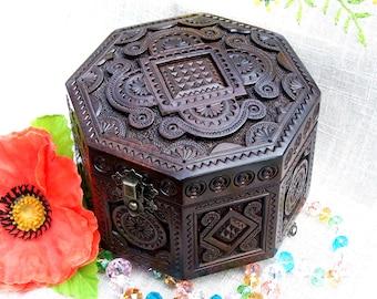 Wooden box Jewelry box Ring box Wood box Wood carving Wedding ring storage Wood carving Jewellery box Jewelry box wood wedding ring box B50