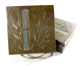 Bamboo Coasters - 4 Etched Slate Coasters, Hand Carved Stone Coasters, Beverage Coasters, Nature Coasters, Sun Room Decor Housewarming Gift