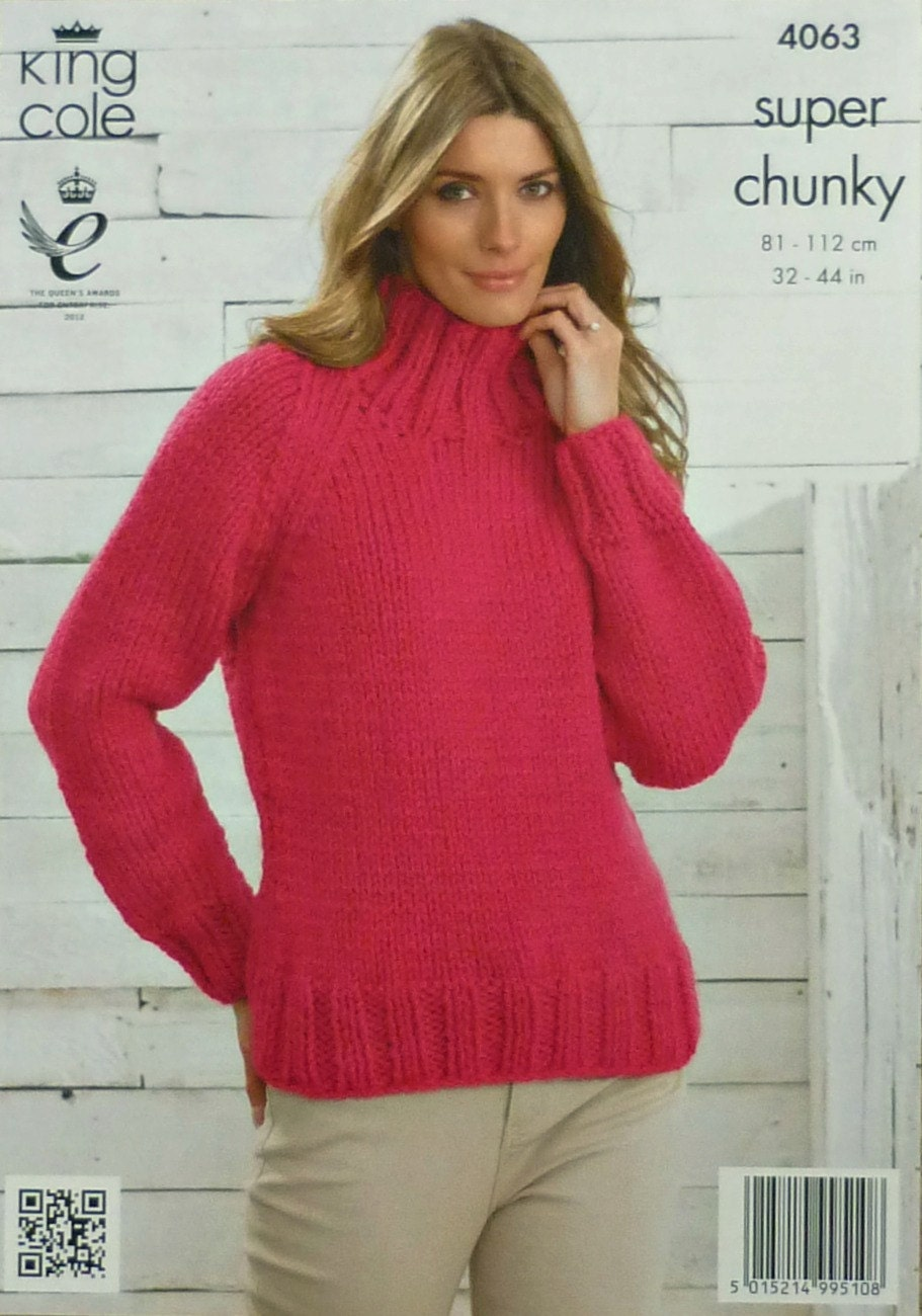 Womens Knitting Pattern K4063 Ladies Long Sleeve High Neck Easy Knit ...