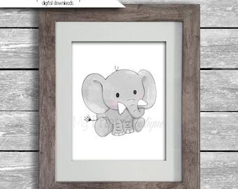 Cute Elephant Digital Download - 8x10 Original Hand Drawn Elephant Watercolor Painting - Nursery Art - Ely Ella Boys or Girls Room