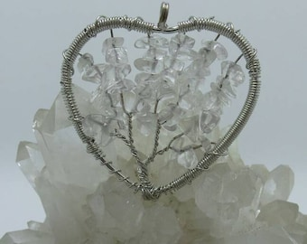Quartz Crystal Tree Of Life Wire Wrapped Pendant.