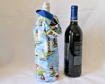 wine tote with sailboat theme, gift for hostess at beach house, birthday gift bag for him or her who loves sailing, single bottle carrier