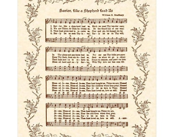 SAVIOR LIKE A SHEPHERD Lead Us - Christian Home And Office Decor Vintage Verses Sheet Music Wall Art Hymn Wall Art Inspirational Wall Art