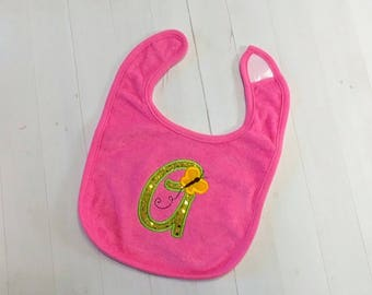 Butterfly green sequin initial letters embroidered Koala Baby cloth baby bibs for 6-12 month old girls