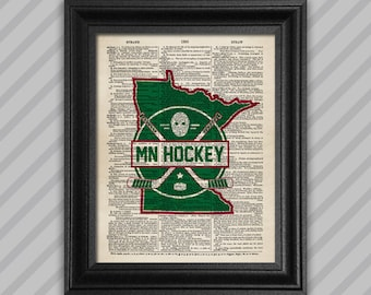 MN Hockey Dictionary Print - Green & Red