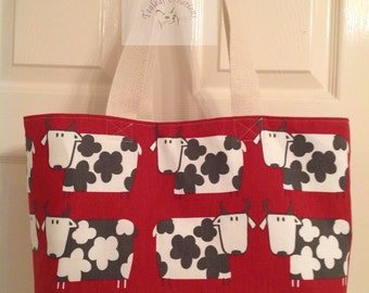 Cow Tote Bag  ( Red or Mint )     -  Gift for Her, Gift for Wife, Gift for Women , Gift for Mum