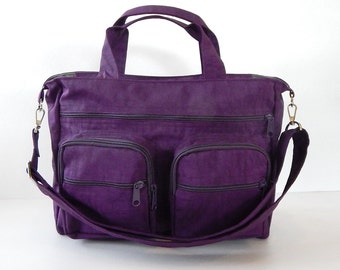 Sale - Deep Plum Water Resistant Nylon Bag - Messenger, Diaper bag, Laptop bag, Tote, Shoulder bag, Women, Crossbody - PAMELA