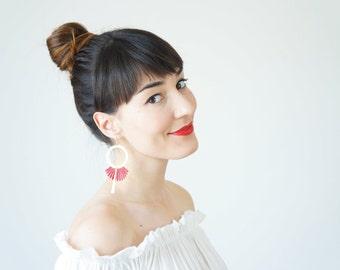 Boho-Chic Fashion Burgundy Earrings Statement Earrings Women Fashion Mom Gift For Her Girlfriend Gift / GELARO