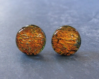 Orange Post Earrings, Hypoallergenic Studs, Fused Glass Jewelry, Autumn Studs, Halloween, Dichroic Earring, Ready to Ship - Ceely - 2309 -4