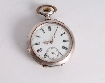 Antique Vintage Old French Made Silver Hand Winding Pocket Watch.