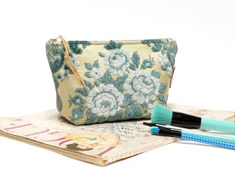Large Cut Velvet Pouch, Blue Cosmetic Bag, Floral Makeup Bag Handmade from vintage fabric by EllaOsix