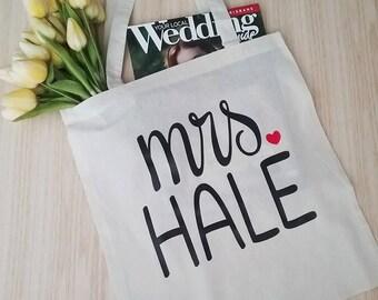 Personalised bride Tote; Mrs Name Tote; Bag ; Wedding bag; Gift for Bridesmaid; Bride bag; Personalised Tote wedding bag; Bride gift tote