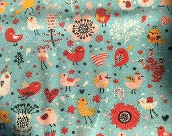 Jersey Fabric Birds on Blue