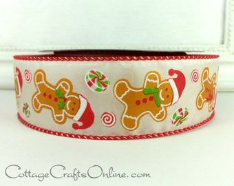 """Christmas Wired Ribbon, 1 1/2"""", Gingerbread Man Cookies - THREE YARDS - """"Mick's Gingerbread"""" Glittered Craft Wire Edged Ribbon"""
