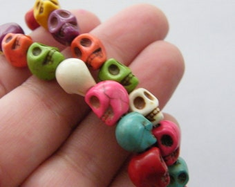 40 Mixed colours skull beads 10 x 10mm SK6