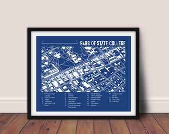 State College, Pennsylvania Bars Printable Map | Penn State Wall Art | Map Art | College Graduation Gift|  Digital Download