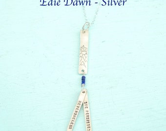 "Silver Dawn design The ""Edie Collection"" addition of design to any SILVER quote necklace handcrafted by Chocolate and Steel."