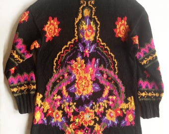Vintage 1980s Floral Hand Knit Intarsia Long Black Sweater Dress