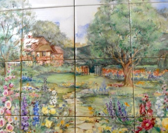 English Garden Tile Mural