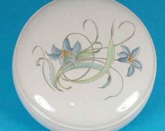 Round Lidded Box with Blue Lily -Handmade Ceramic