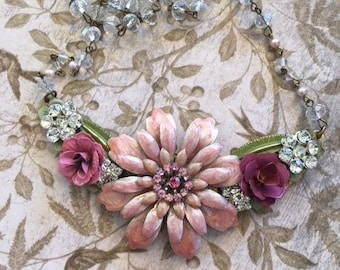Statement Necklace, Bridal Necklace, Repurposed Necklace, Upcycled Necklace, Assemblage Necklace,Pink Bib Necklace