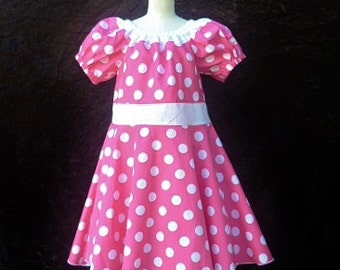 "Girls Polka dot twirly dress, Pink dress, Clothing for girls, size 3Toddler ""READY TO SHIP"""