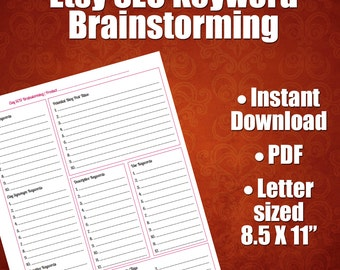 Etsy SEO Worksheet For Brainstorming Product Titles and Tags, Etsy Sellers, Etsy SEO Help, Selling On Etsy, Etsy SEO Worksheet, Etsy Search