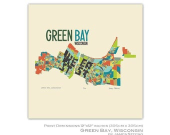 Green Bay, Wisconsin City Art Map Print (Brown County) by James Steeno