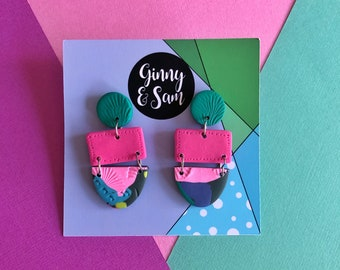 Pink and Green Dahlia Earrings || Polymer Clay Earrings