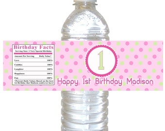 Girl 1st Birthday Bottle Label 1st Birthday Party Bottle Label Pink Mint Green Bottle Label Party Bottle Label Printable Bottle Labels