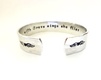 Personalized Cuff Bracelet, Custom Cuff Bracelet, Inspirational Cuff Bracelet, with Brave wings she...Hammered Texture, Customizable