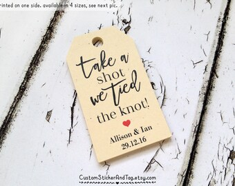 take a shot we tied the knot tags, mini bottle tags, tags for favors, personalized wedding tags, kraft tags (T-112)