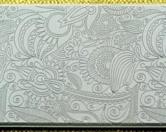 Flower Doodle Fineline Clay Texture Rubber Stamp  TTL-132