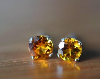 Orange Sapphire Studs, Dainty 5mm Sapphire Earrings, Sterling Silver Post Earrings, 5mm Gemstone Studs, Wedding Earrings, Bridal Jewelry