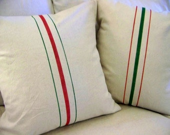 free shipping - red and green grainsack christmas pillows - vintage style - stripe - canvas  - christmas pillow - christmas decoration