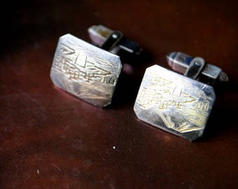 Mod vintage 50s sterling silver 960 , oriental ,abstract ,engraved design cufflinks. Made in Japan.