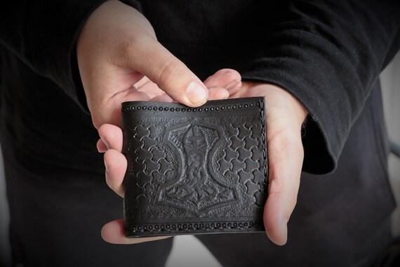 Viking Leather Wallet - Mjolnir Bifold Wallet - Thor's Hammer